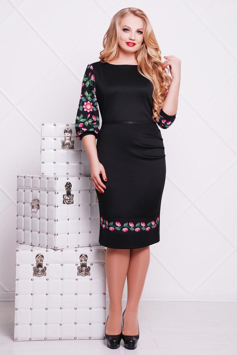 Купити чорне плаття великого розміру Андора-Б д р GL615101 квітами ... b775d011f5fc0