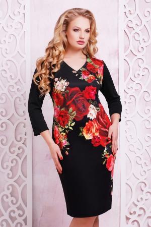 Черное платье большого размера Калоя-2Б д/р GL615201 с розами