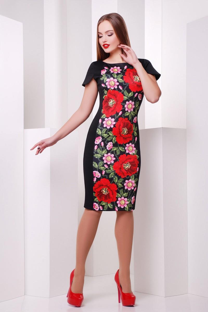 Купити чорне плаття Пітреса к р GL621601 з маками недорого з ... 378743bf9e1f6
