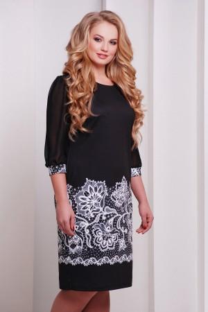Чорне плаття Талса-1Б д/р GL632701 великого розміру з принтом