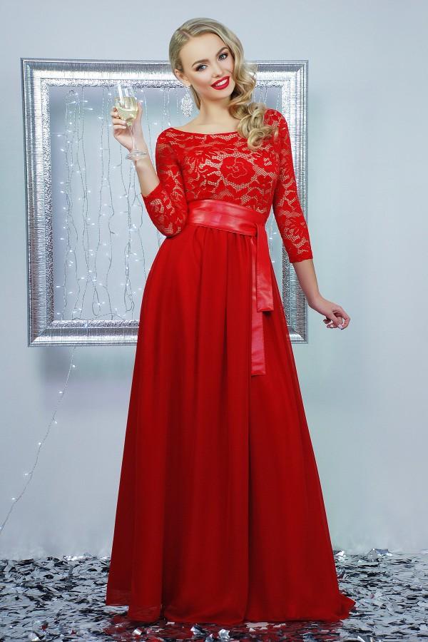 Платье Марианна д/р цвет красный GL642701 в пол