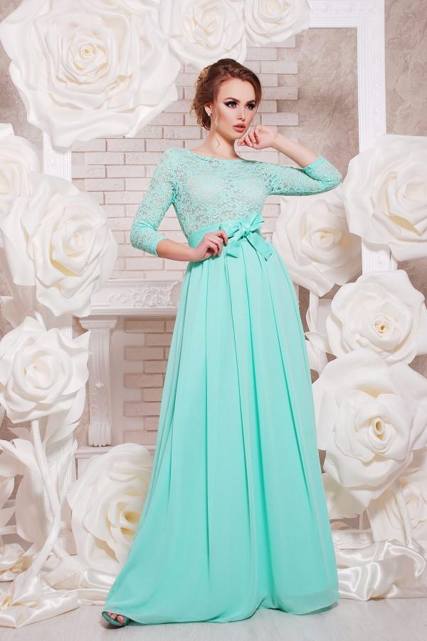Платье Марианна д/р цвет мята GL642801 в пол