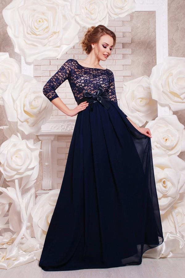 Платье Марианна д/р цвет синий GL643001 в пол
