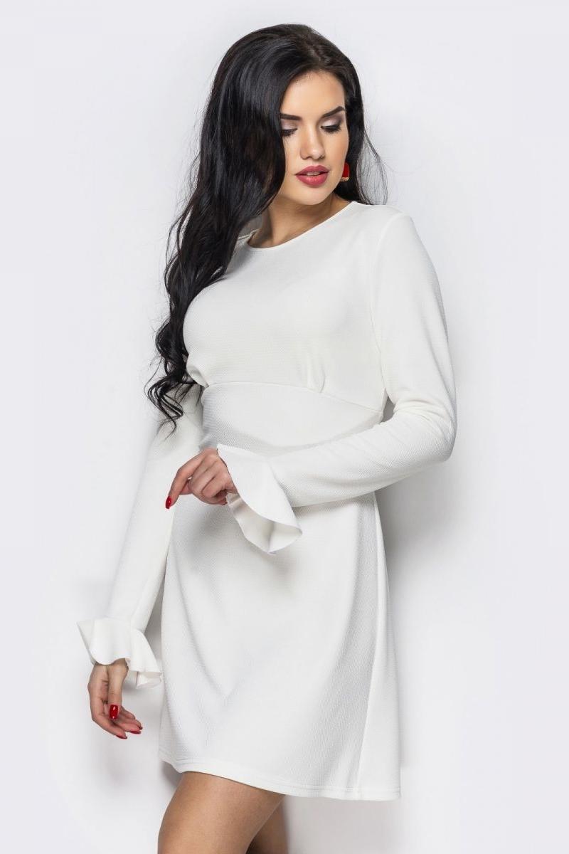 1e6610979b742c Купити вишукане біле плаття 32239/2 з довгими рукавами з доставкою у ...