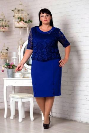 Нарядне синє плаття великого розміру VN30805 Мілана (електрик)