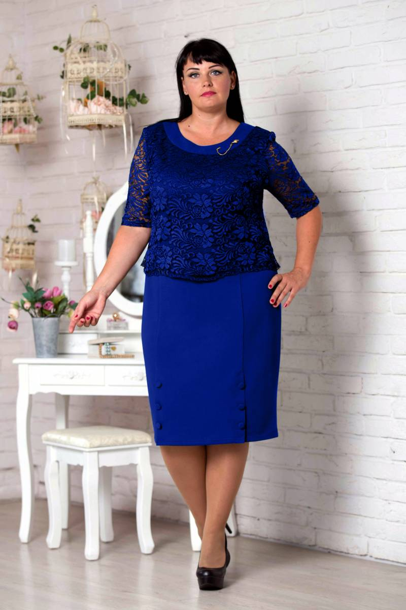 b9ba49ecf90941d Нарядное синее платье большого размера VN30805 Милана (електрик)