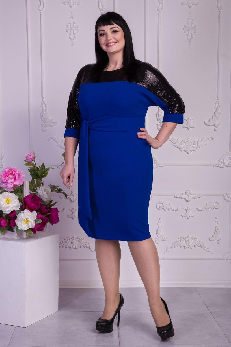 Купити модне синє плаття (електрик) VN32601 великі розміри від ... 6bad39bd5bcf4