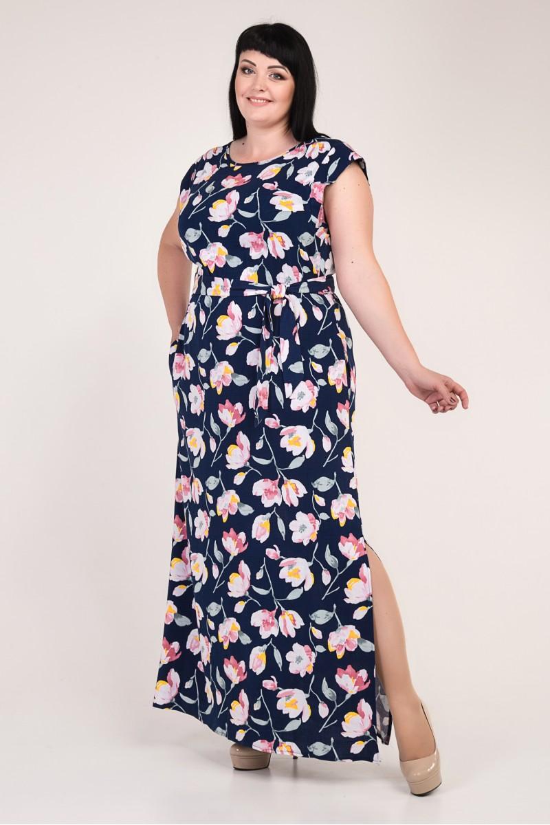 3fadb61099caa3c Купить летнее синее платье большого размера VN33201 с цветами ...