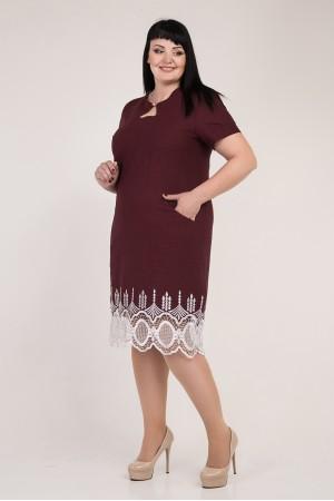 Нарядне бордове плаття великого розміру VN33502 з мереживом