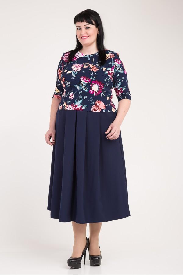 Женский синий костюм большого размера VN33601 с цветами
