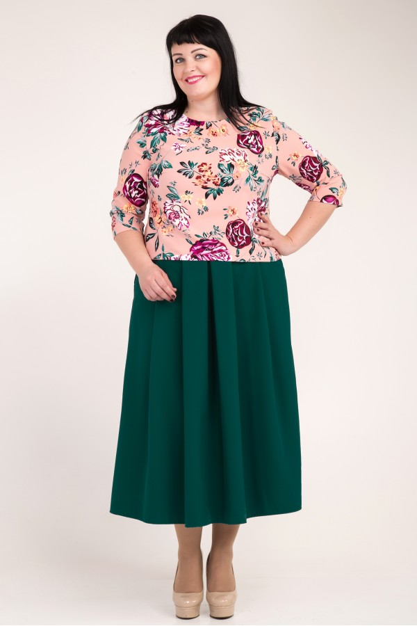 Жіночий зелений костюм великого розміру VN33603 з квітами
