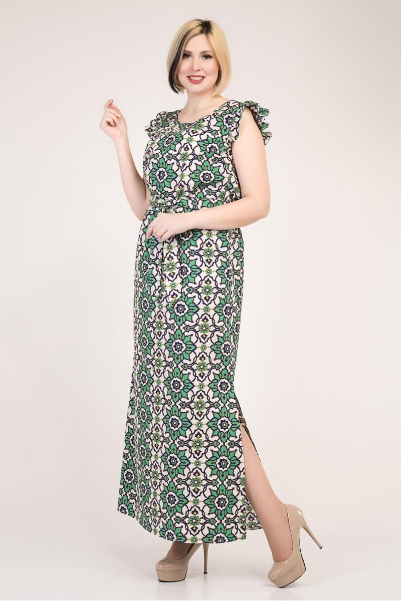 e711d54651b9060 Купить красивое платье большого размера VN33702 с зелеными цветами ...