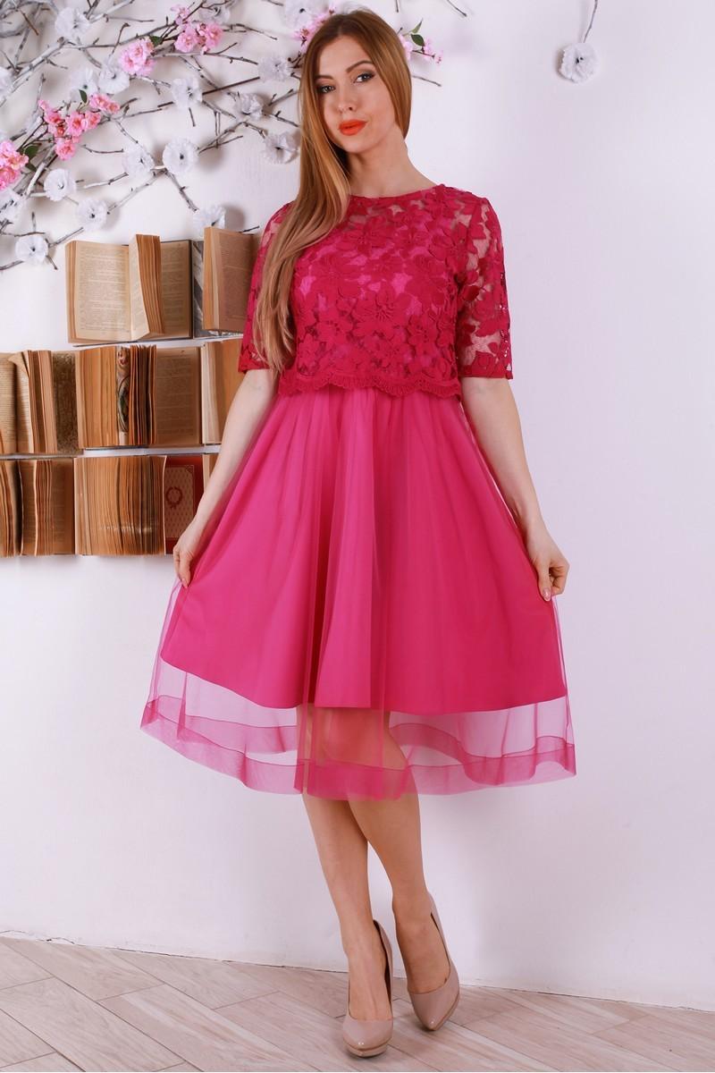 Купити святкове рожеве плаття з євросіткою YM32008 недорого з ... fcc232cea0cdb