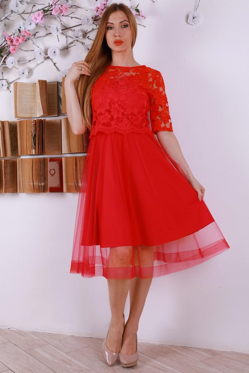 Купити святкове червоне плаття з євросіткою YM32009 недорого з ... 1661240a1e258