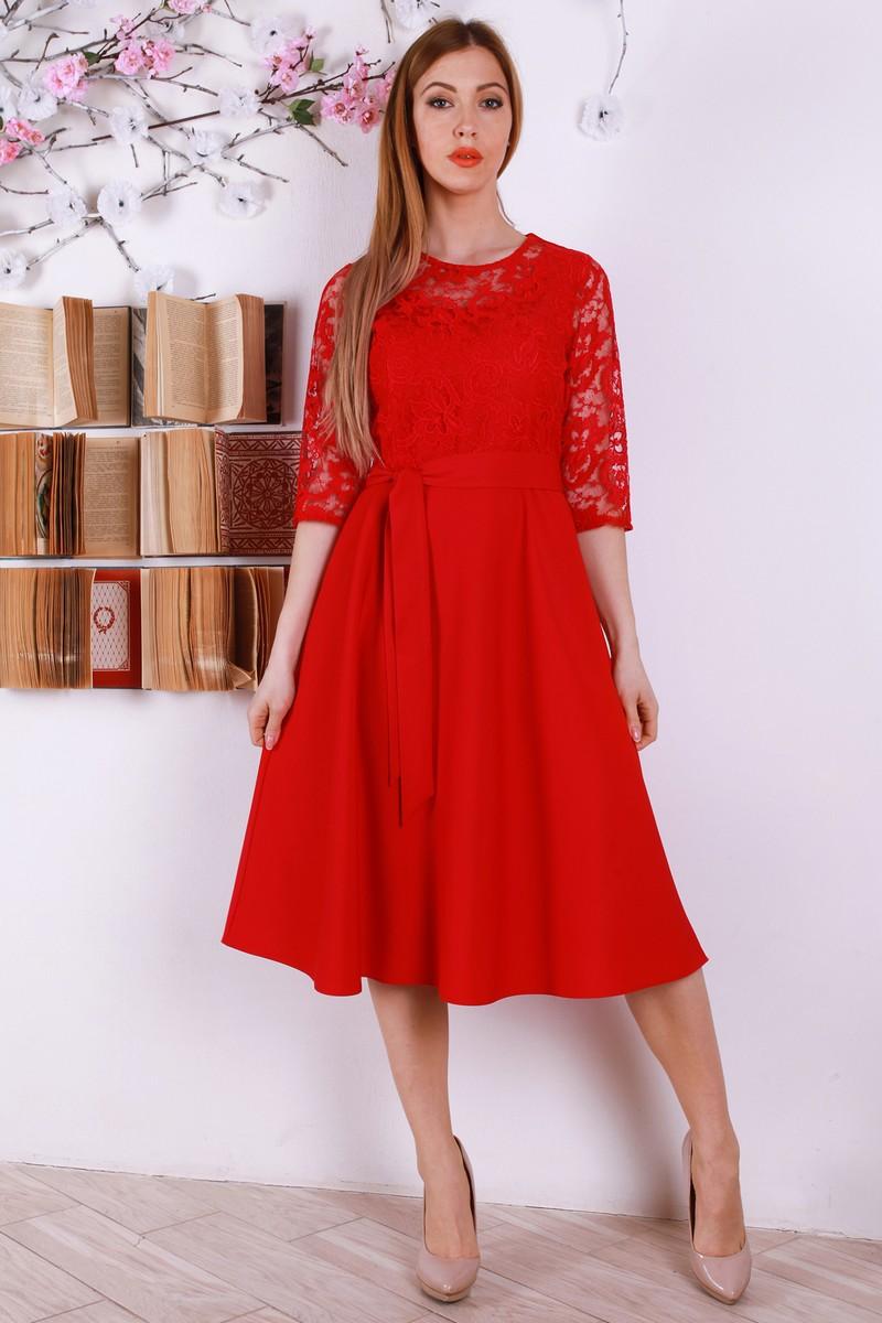 Купити Нарядне червоне плаття YM32401 з євросіткою недорого з ... c220d34245c24
