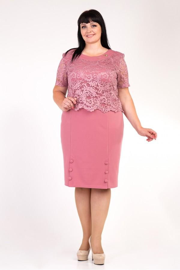 Розовое платье больших размеров VN30808