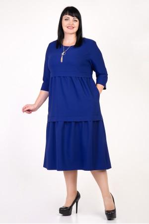 Святкове синє плаття Селін VN35804 великі розміри