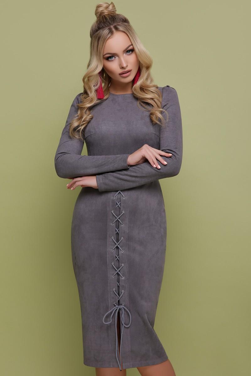 0cb3465cc643871 Купить замшевое платье Таяна GL702901 серого цвета с доставкой в ...