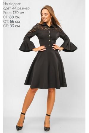 Стильне чорне плаття на кнопках LP673104