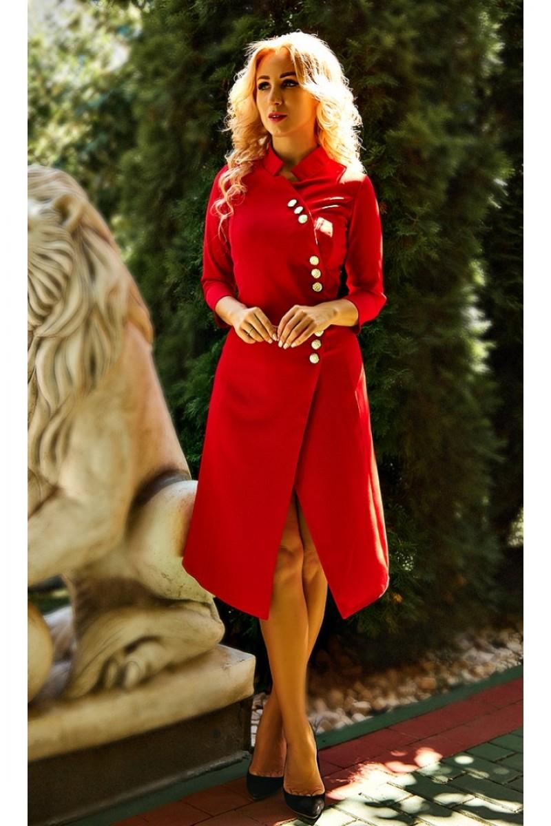 Плаття на запах з гудзиками Ліана AD682402 червоно - коралового кольору a0b45e1bc43bc