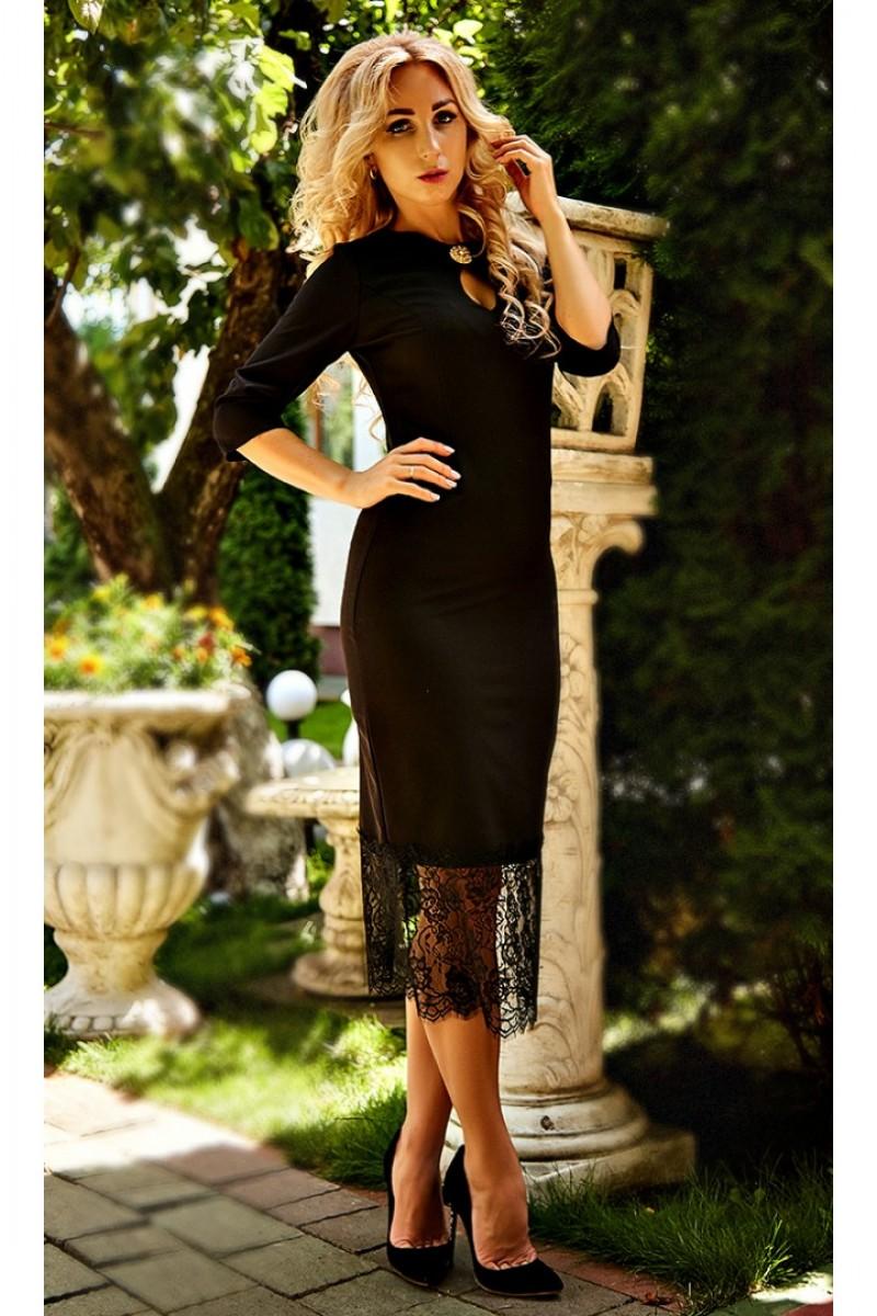 Купити жіночне плаття - міді Кайлі AD682702 чорного кольору від ... 62a30cfec4ea7