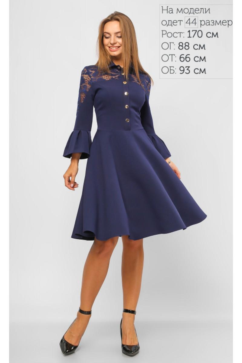 938173cbccd3e2f Купить женственное синее платье 2018 на кнопках LP673103 недорого от ...