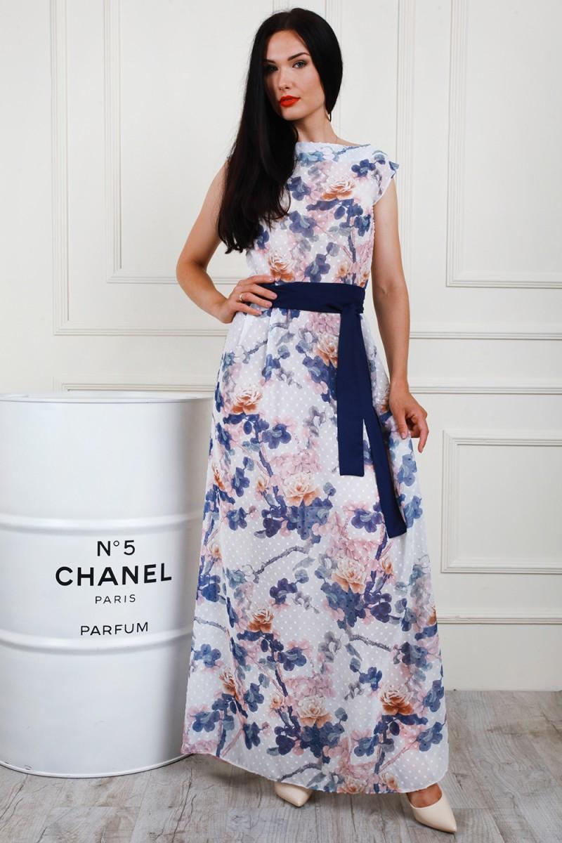 c0f3a55592d Купить летнее длинное синее платье AL69803 с цветочным принтом с ...