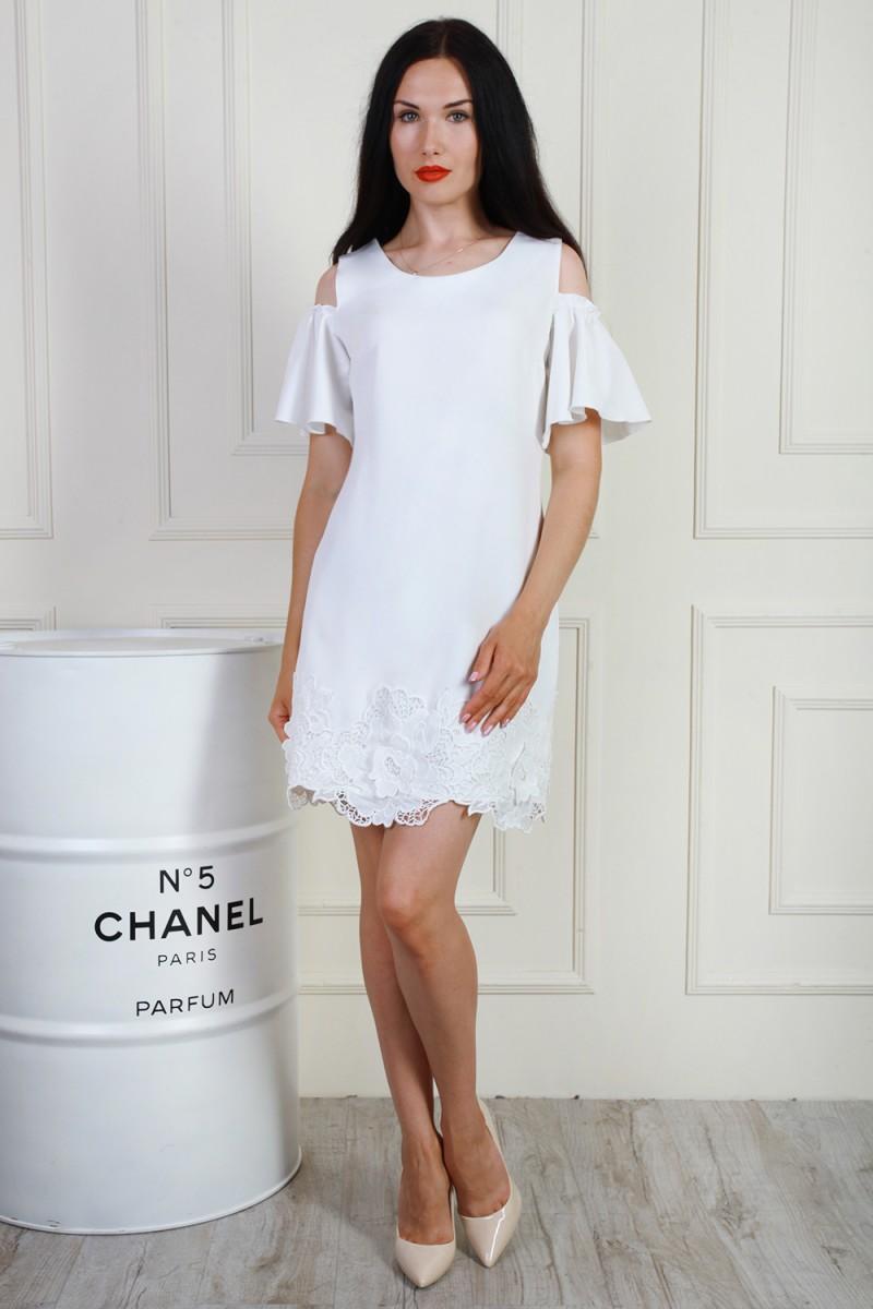 Купити літнє нарядне біле плаття AL69903 з мереживом недорого з ... bfc9dba49988b