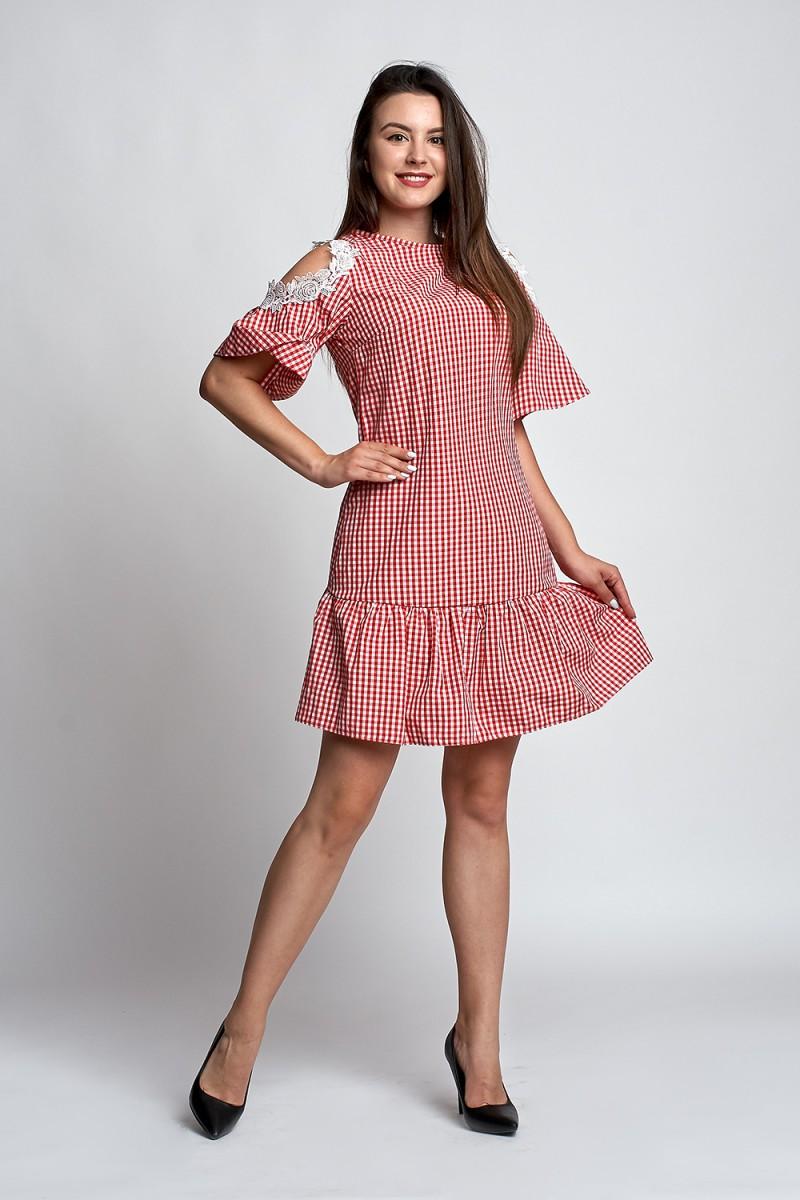 39e1f1fb32a Купить легкое летнее платье Анаит А3 EM033003 красная клетка от ...