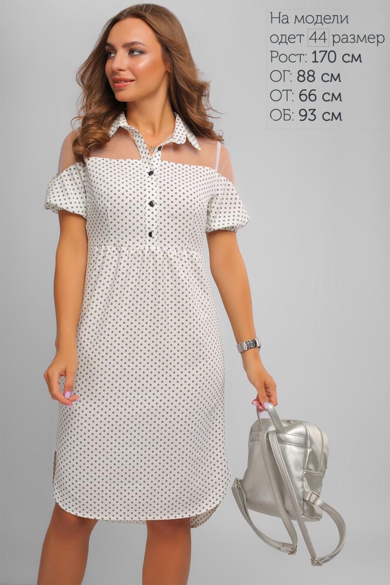 5c03bf7d616c9f Купити нарядне літнє біле плаття LP327501 в горошок та з доставкою у ...