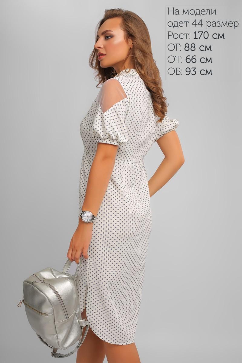 Купити нарядне літнє біле плаття LP327501 в горошок та з доставкою у ... 5a2aec5ce58ce