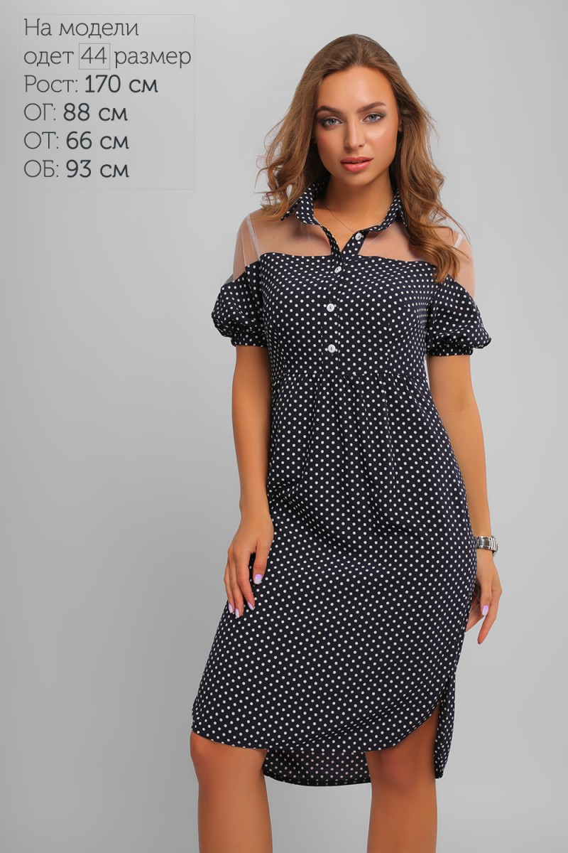 1c9b302cc5a6e4 Купити нарядне літнє синє плаття LP327504 в горошок та з доставкою у ...