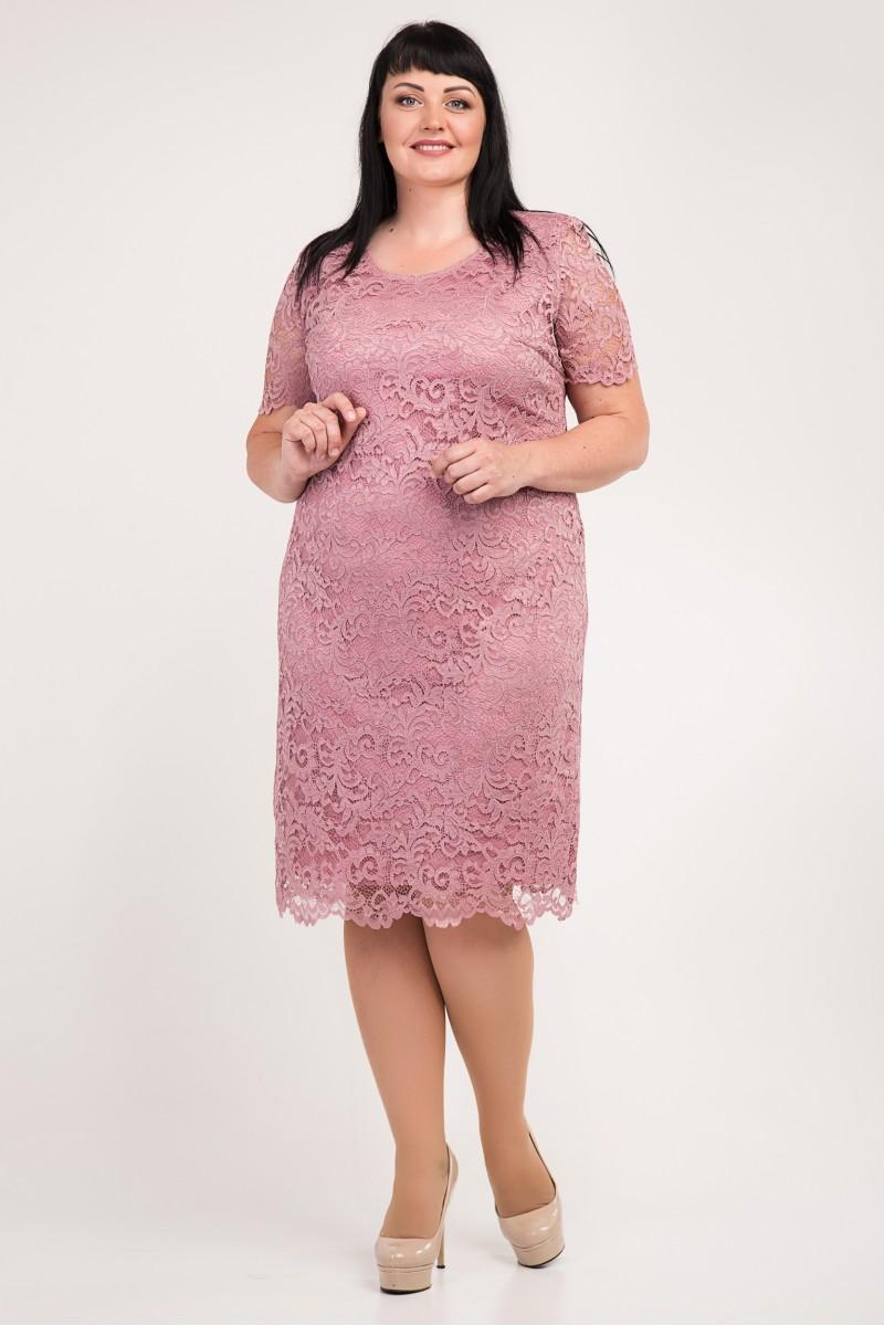Купити красиве плаття великих розмірів VN34102 пудра з гіпюром від ... ae4c65a7e07e3