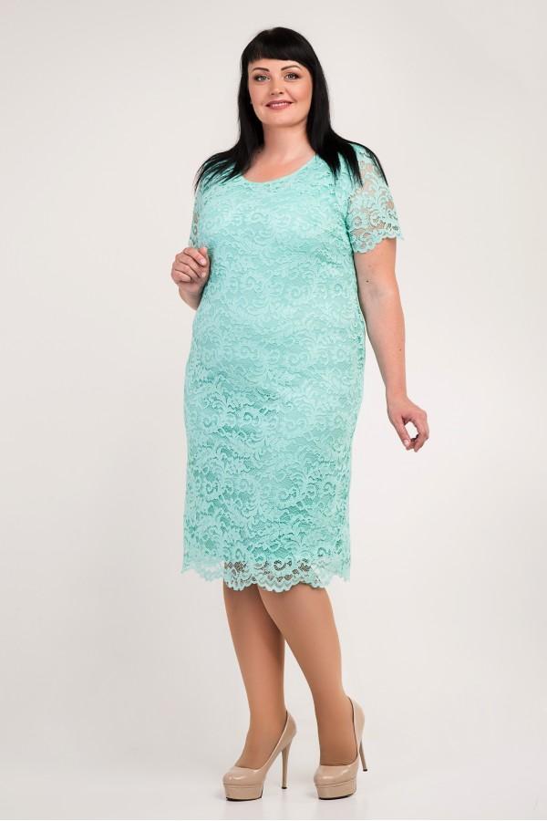 Красиве плаття великих розмірів VN34103 м'ята з гіпюром
