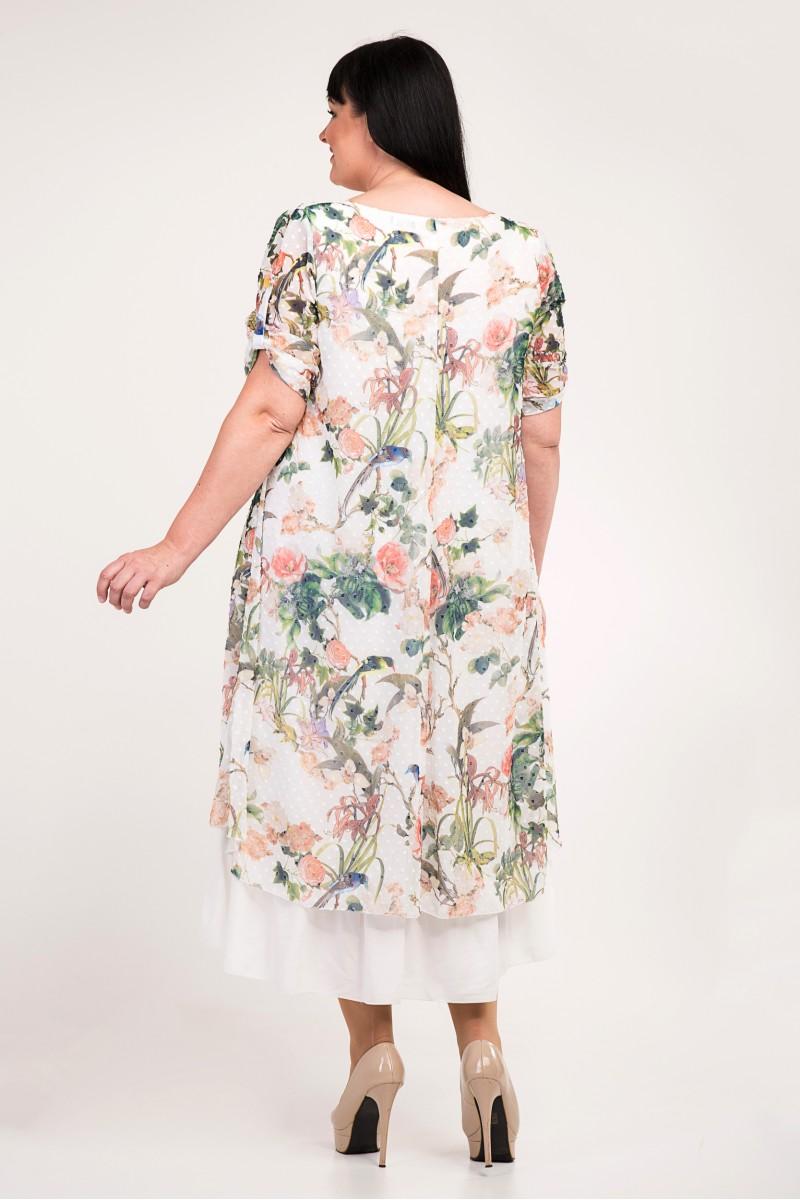 0c799b2d4167cf Купити літнє плаття великих розмірів VN34202 біле з квітами від ...