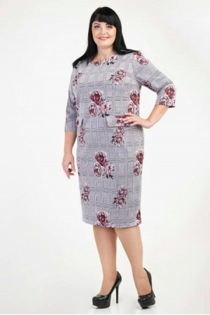 Плаття великих розмірів ділове  VN36202 бордові квіти