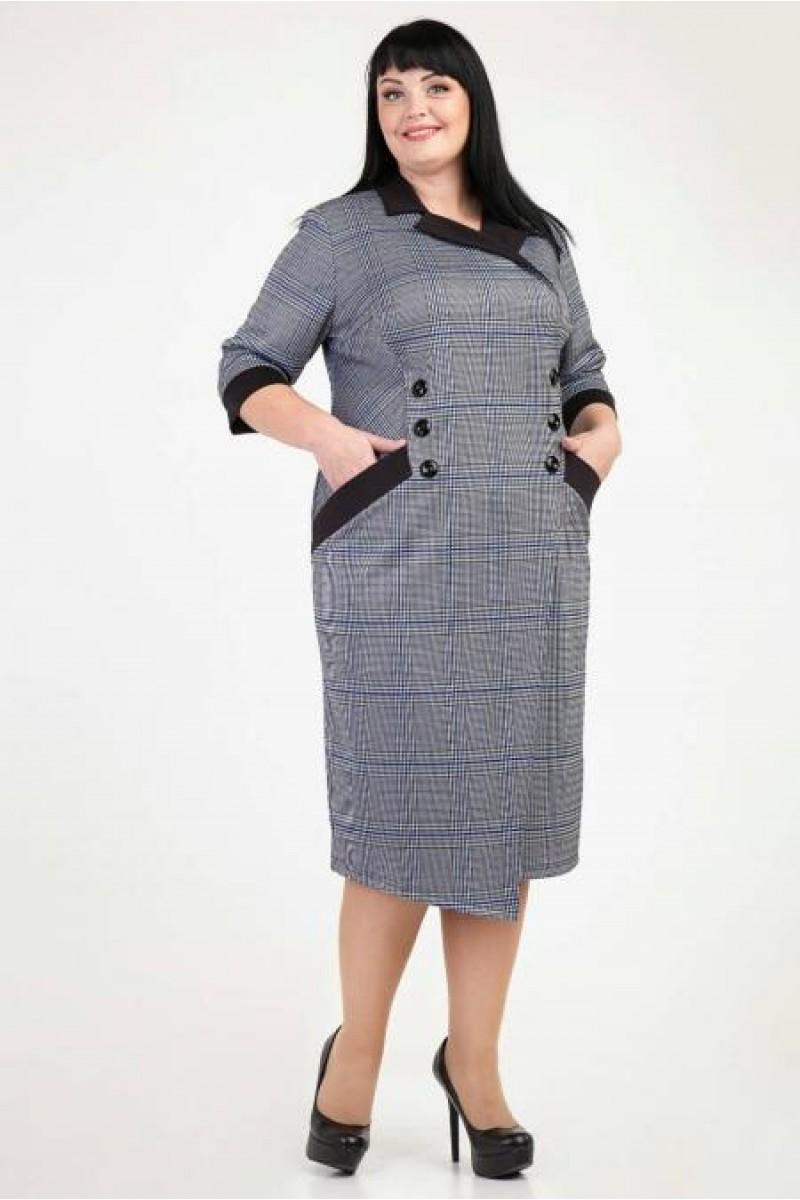 Купити недорого плаття великих розмірів VN36301 синя клітка від ... a7b07f2f8ab2e
