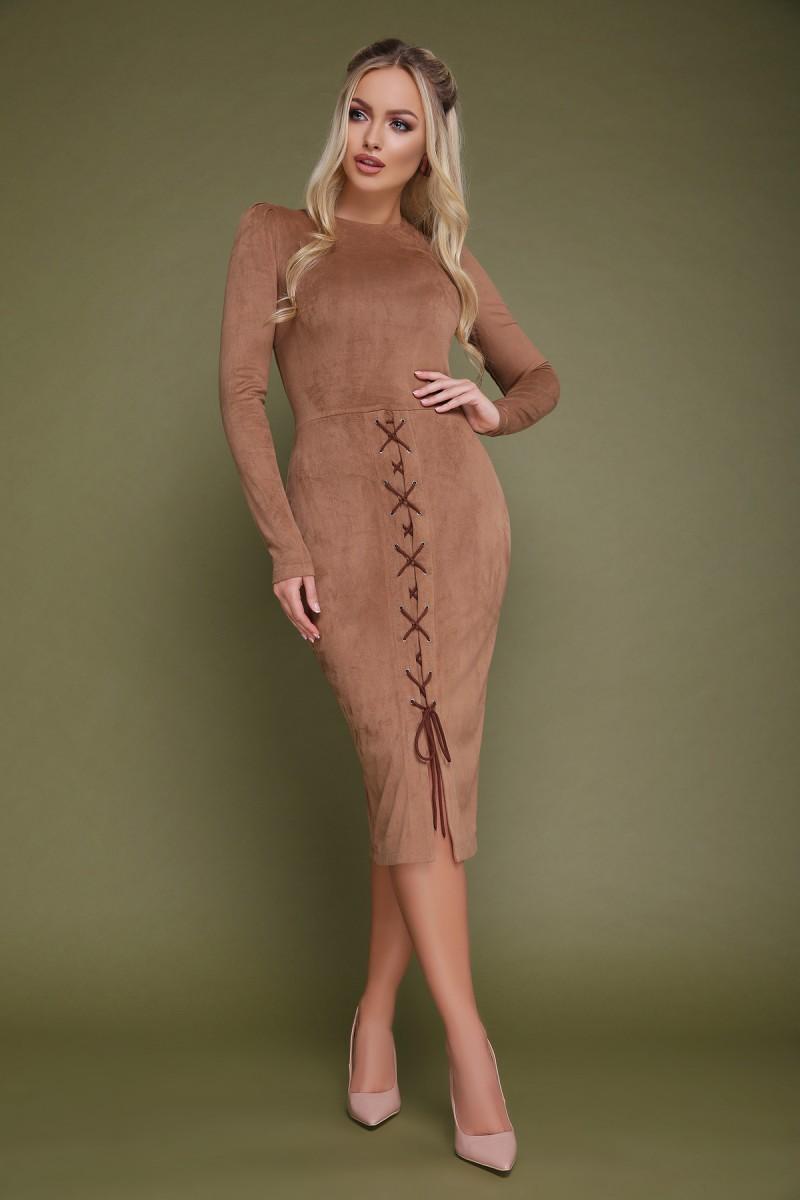 9533313374d09b2 Купить замшевое платье Таяна GL703501 бежевого цвета с доставкой в ...