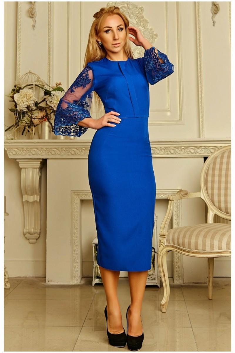 4c2cc4737d522f Купити осіннє плаття з сіткою, жіночне плаття Крістіна синього ...