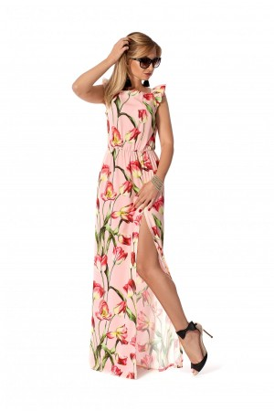 Плаття 2019 довге  рожеве SF115802