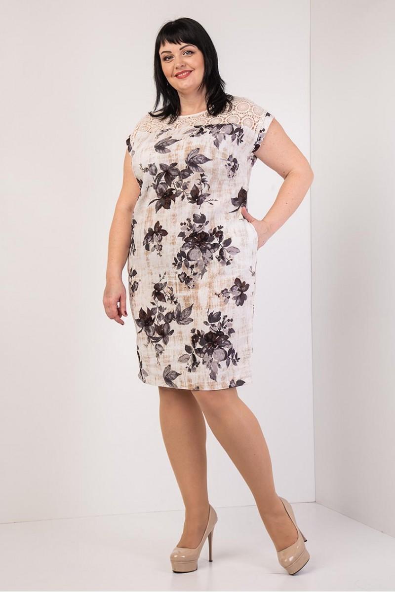 f2e2f4553d87d1 Купити літнє плаття великого розміру VN33903 з бордовими квітами від ...