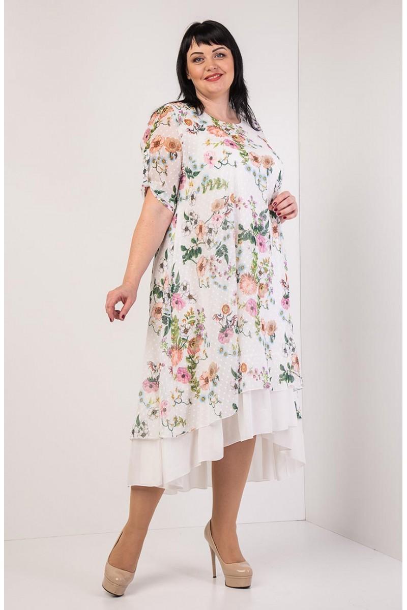 4b79594a05c9b4 Купити літнє плаття великих розмірів VN34204 блакитне з квітами від ...