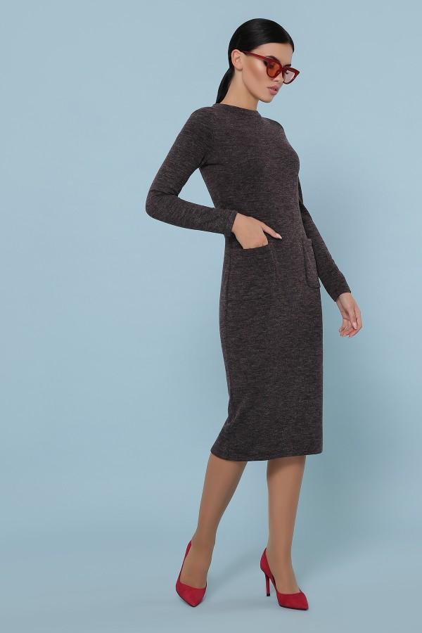 Осіннє тепле плаття Габріела GL702601 шоколадного кольору