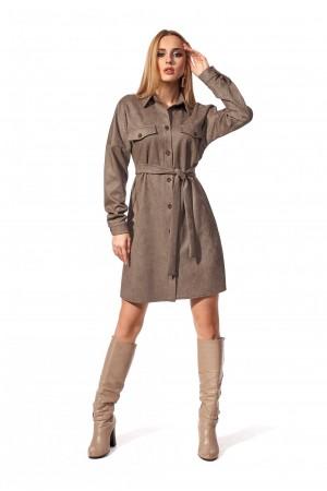 Платье-рубашка темно-коричневого цвета SL120801 замш