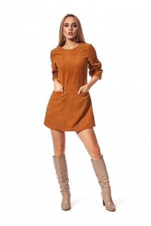 Платье короткое горчичного цвета SL120701 вельвет
