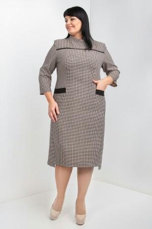 Плаття великого розміру в полоску VN40102 гірчиця