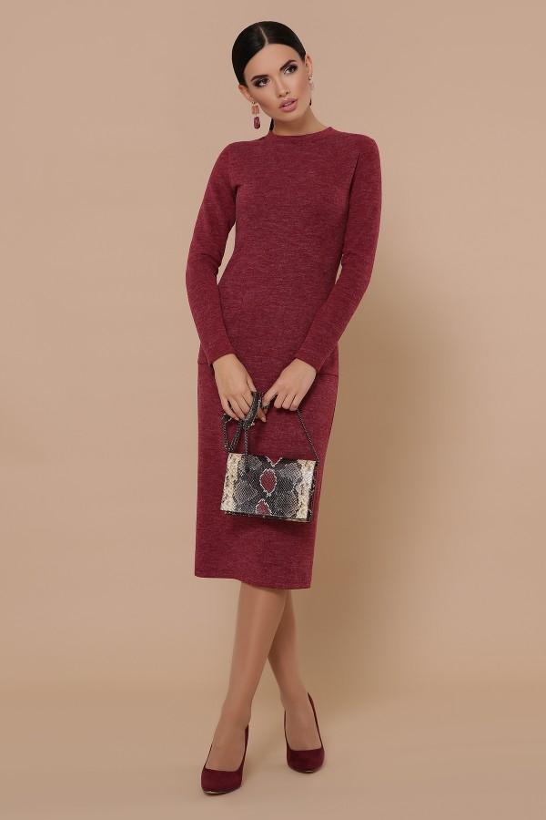 Осіннє тепле плаття Габріела GL702201 бордового кольору