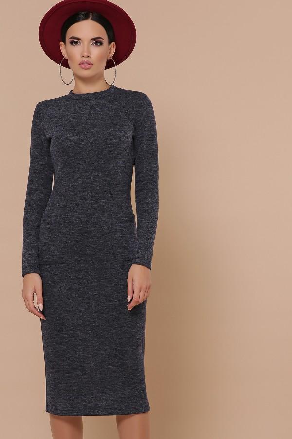 Осіннє тепле плаття Габріела GL702401 синього кольору