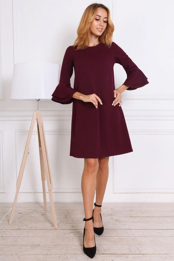 Осіннє плаття AL81503 бордо