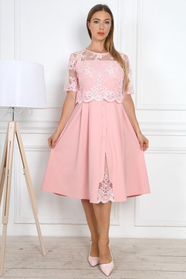 Нарядне рожеве плаття YM37502 з євросіткою великого розміру